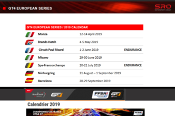 Calendriers GT4 2019