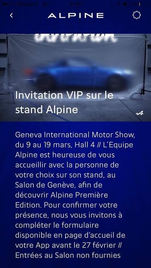 Alpine invitation VIP